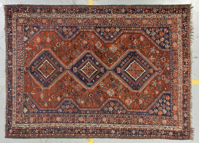 A Shiraz carpet size approximately 7ft 4in x 10ft 3in