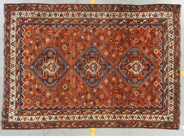 A Shiraz carpet size approximately 6ft 11in x 10ft 10in