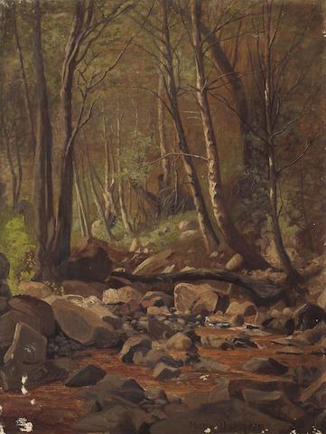 Marius Dahlgren (Danish/American, 1844-1920) A Wooded Stream 16 x 12in