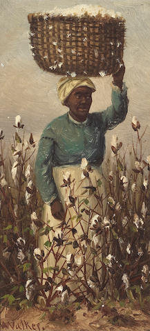 William Aiken Walker (American, 1838-1921) Cotton Picking 8 x 4in