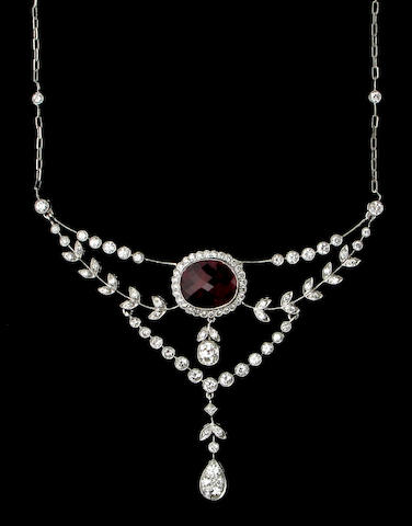 A ruby, diamond, and eighteen karat white gold necklace,