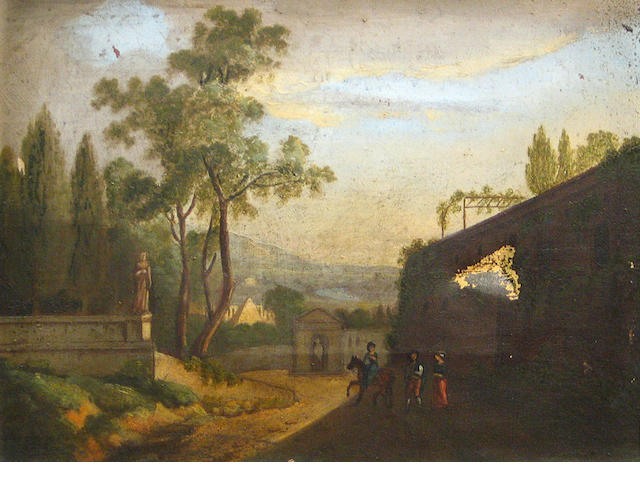 Continental School 19th C., figures on a road