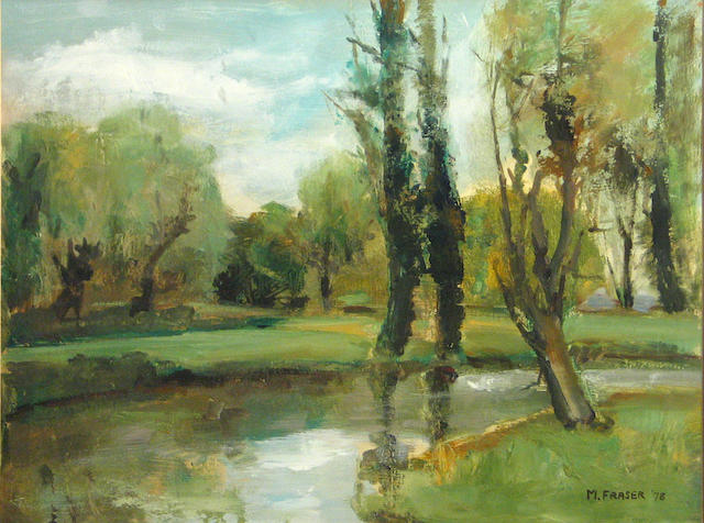 M. Fraser (20th Century) A river landscape, 1978 sight 13 1/2 x 17 3/4in