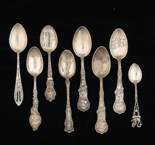 Group of Sterling Domestic Souvenir Spoons