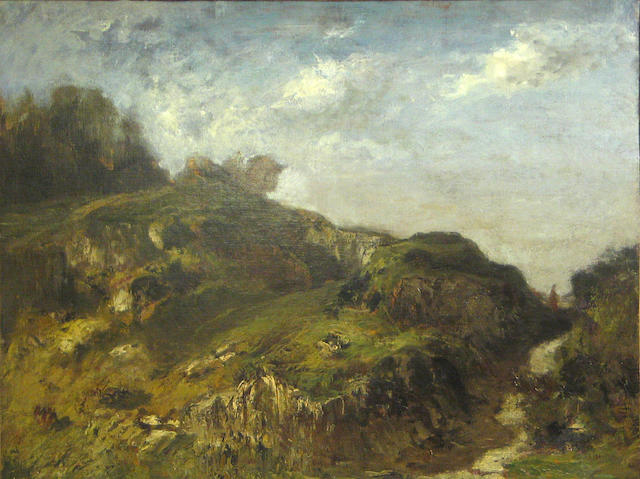 Attributed to Manuel Valencia (American, 1856-1935) A rocky landscape 19 1/2 x 26in