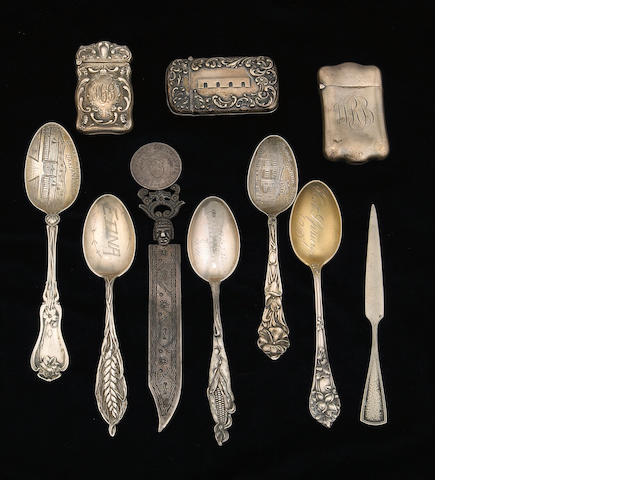Group of Spoons Decorated as Souvenirs