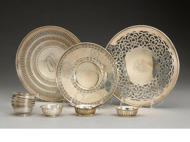Group of Sterling Table Articles with Reticulated Decoration