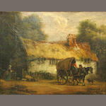 English School 19th C., A farm scene, o/c