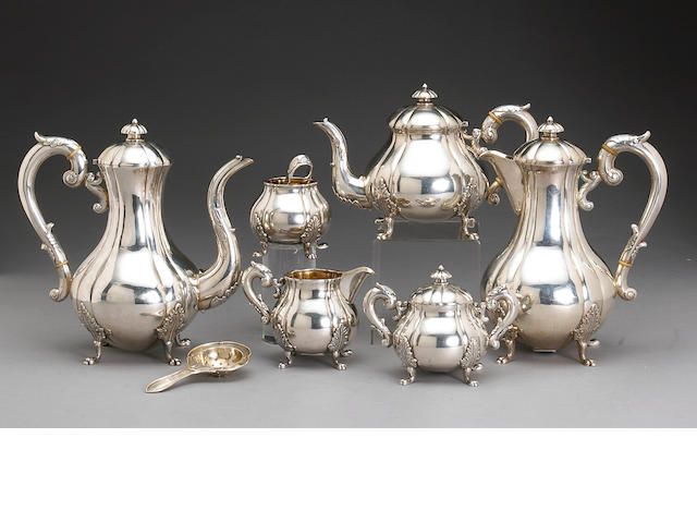 Late Chinese Export Silver Six Piece Tea and Coffee Set with Sugar Tongs and Tea Strainer