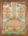 An elaborate Tibetan Thangka, 'Dhyani Buddha surrounding seated lama'
