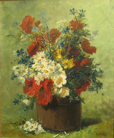 Eugene Henri Cauchois, Floral Still Life, oil on canvas, 25 x 21 inches