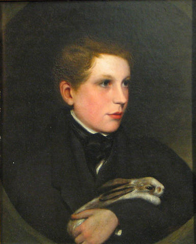 British School 19th C., Boy with rabbit, o/bd, 22 X 18 in.