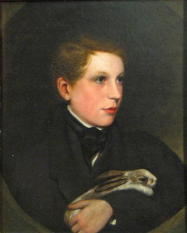 British School 19th C., Boy with rabbit, o/bd, 22 X 18 in.