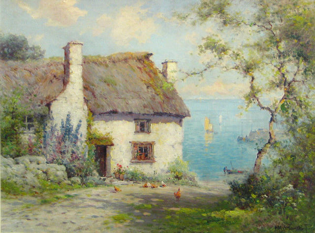 Alfred Fontville de Breanski (British, 1877-1955) The Harlow cottage 18 x 24in