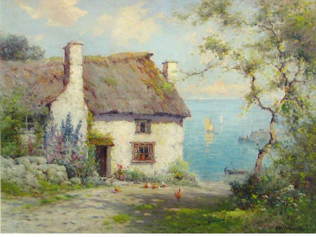 Alfred Fontville De Breanski Jr., Thatched Cottage, oil on canvas, 18 x 24 inches