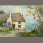 Alfred Fontville De Breanski Jr., Thatched Cottage, oil on canvas, 18 x 24 inches