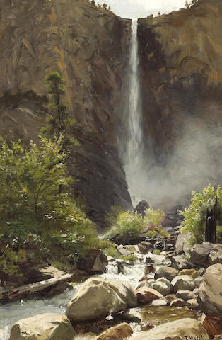 Thaddeus Welch (American, 1844-1919) Summer Stream and Cascading Falls 24 x 16in