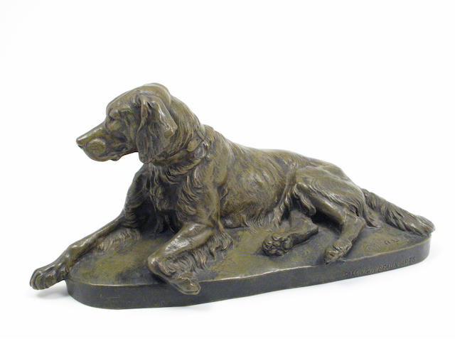 A French patinated bronze model of a dog