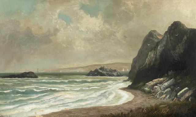 Gideon J. Denny (1830-1886) Bay of San Francisco near Golden Gate, Seal Rocks, 1879 30 1/2 x 50in