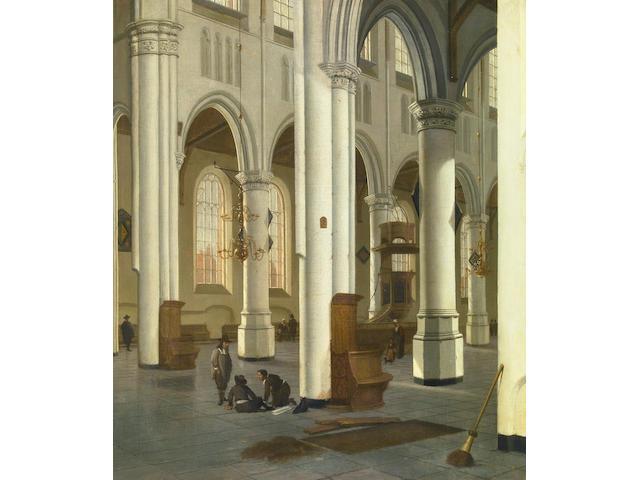 Hendrick Cornelisz van der Vliet (Dutch, 1611-1675) A church interior 25 3/4 x 22 1/2in (65.4 x 57.2cm)