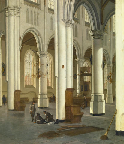 Hendrick Cornelisz van der Vliet (Dutch, 1611-1675) A church interior 25 3/4 x 22 1/2in (65.4 x 57.2cm)