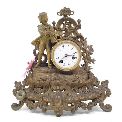 A French gilt metal mantel clock