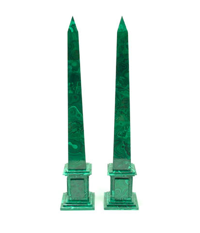 A pair of malachite veneered obelisks