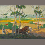 Woodbury, C.H. Ploughing Field, oil on canvas