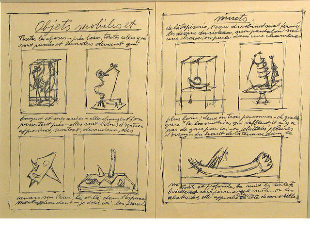 ALBERTO GIACOMETTI Objects Mobiles et Objets Muts, 1952 lithograph