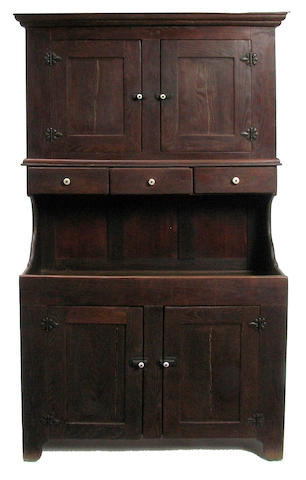 An American style oak dry sink with copper liner
