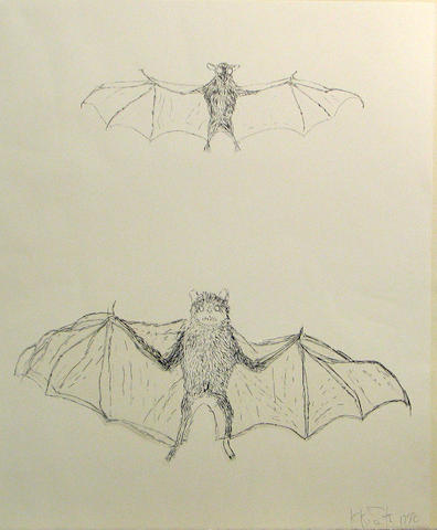 Kiki Smith (German/American, born 1954); Bat, from Flying Creatures;
