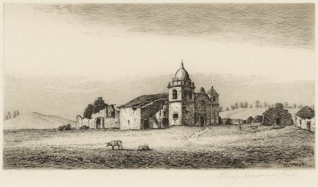 Henry Chapman Ford (American, 1828-1894); View of San Carlos Borromeo of Monterey, California, Pl. 17, from Etchings of the Franciscan Missions of California;