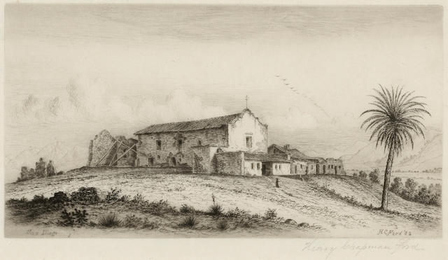 Henry Chapman Ford (American, 1828-1894); View of San Diego Mission, California, Pl. 1, from Etchings of the Franciscan Missions of California;