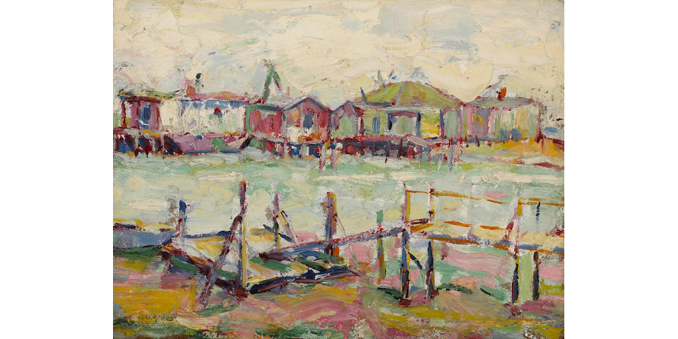 Louis Siegriest, Seattle Houseboats, 1919, signed titled and dated on the reverse, 12 X 16 in.