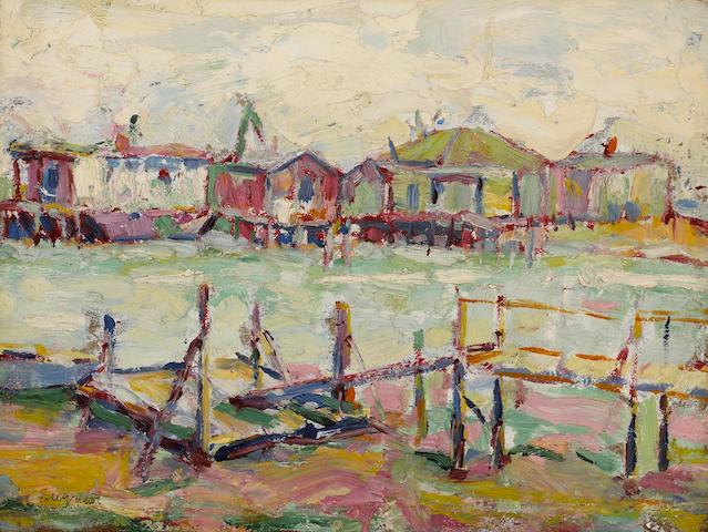 Louis Siegriest (American, 1899-1989) Seattle Houseboats, 1919 12 x 16in