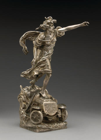 'Le Virage', a fine motoring bronze by Rousseau, French, circa 1902,