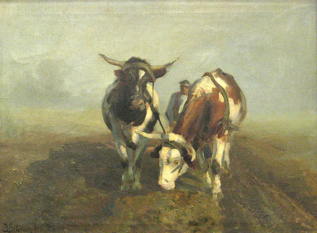 Attributed to Istran Burchard-Belavary The plough 26 1/2 x 38 1/4in