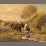 Thomas Bigelow Craig (American, 1849-1924) Cattle Watering at Dusk 25 x 30in