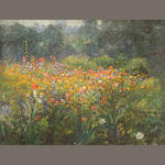 John Ottis Adams (American, 1851-1927) A Country Garden 18 1/4 x 24 1/4in