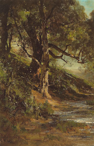 Thomas Hill (1829-1908) Sun-dappled Tree beside a Quiet Brook 18 x 11 3/4in