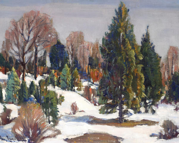 Paul Lauritz (Norwegian/American, 1889-1975) Trees in Winter 16 x 20in