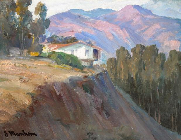Jean Mannheim (1861-1945) Hilltop Home 12 x 15 1/2in