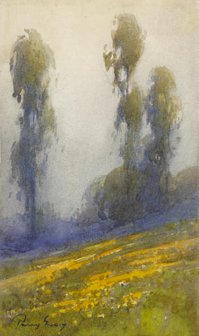Percy Gray (1869-1952) Poppies and Eucalyptus Trees 7 1/2 x 4 1/2in