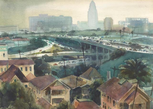 Emil Jean Kosa, Jr. (American, 1903-1968) Cloverleaf Confusion 20 x 28 1/2in