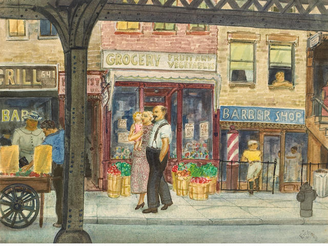 Bernard von Eichman (American, 1899-1970) A Stroll Down the City Street, 1936 18 1/4 x 24in unframed