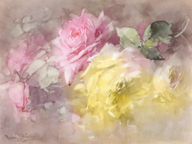 Franz A. Bischoff (American, 1864-1929) Pink and Yellow Roses 8 1/2 x 11 1/4in