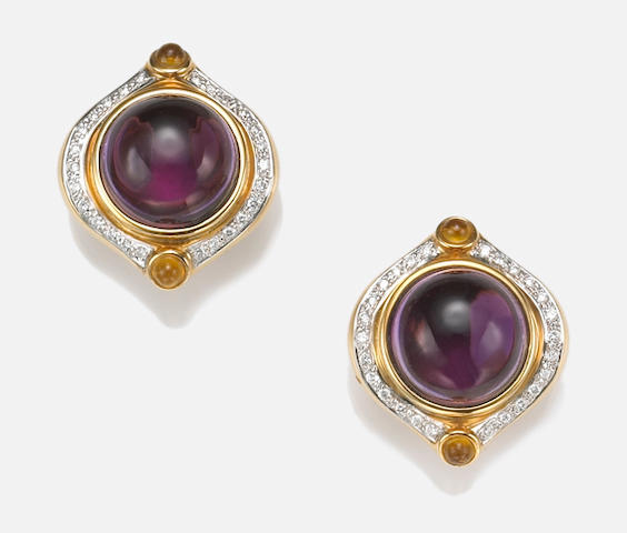 A pair of amethyst, citrine, diamond and eighteen karat gold earrings