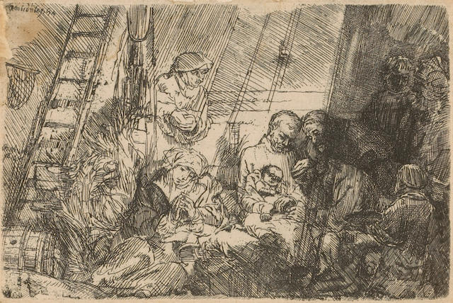 Rembrandt the Circumcision in the Stable (B.47) (H.274) 1654 etching I/II
