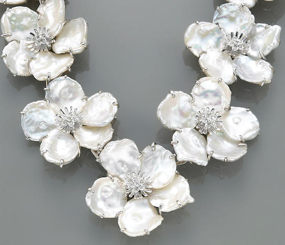 A keshi fresh-water cultured pearl, diamond and eighteen karat white gold necklace