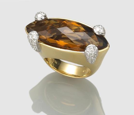 A citrine, diamond and eighteen karat gold ring